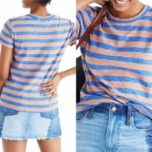 EUC!! Madewell blue and brown striped tee